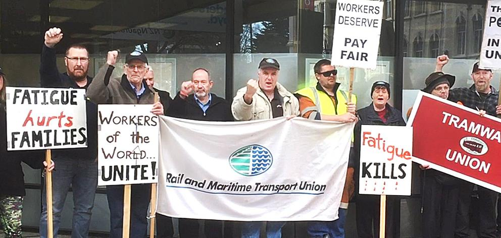 Union members protesting earlier this month. Photo: Rudy Hueting