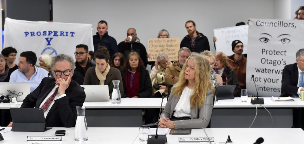 Protestors and Hobbs supporters at this week's extraordinary Otago Regional Council meeting....