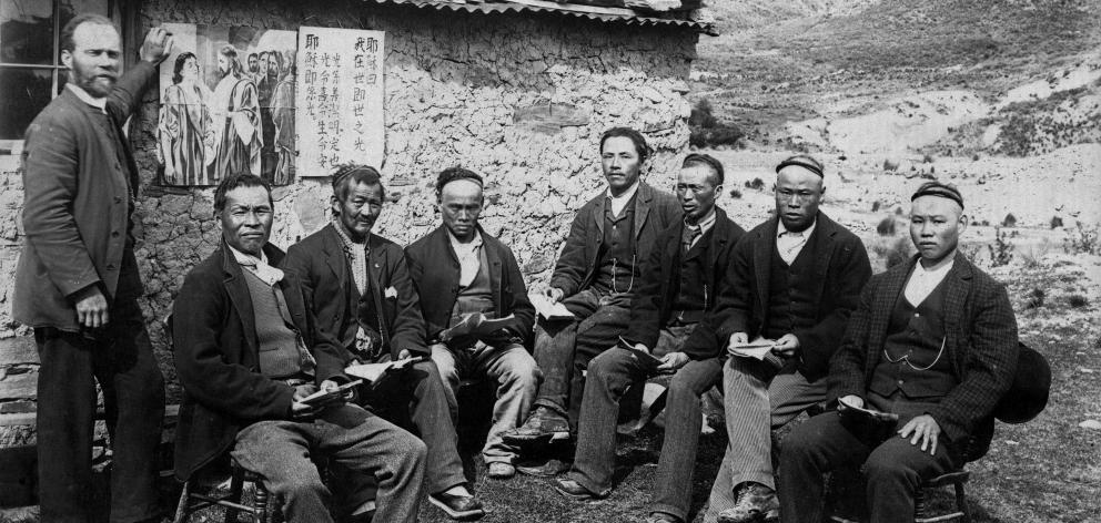 The Rev Alexander Don with Chinese gold miners at the Kyeburn diggings in ...