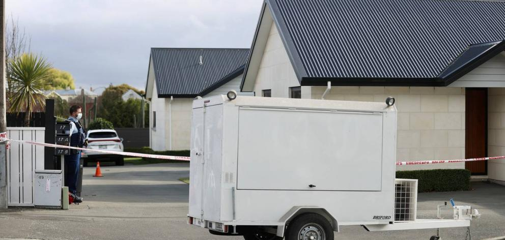The tapped-off property in Timaru where three people were found dead. Photo: George Heard