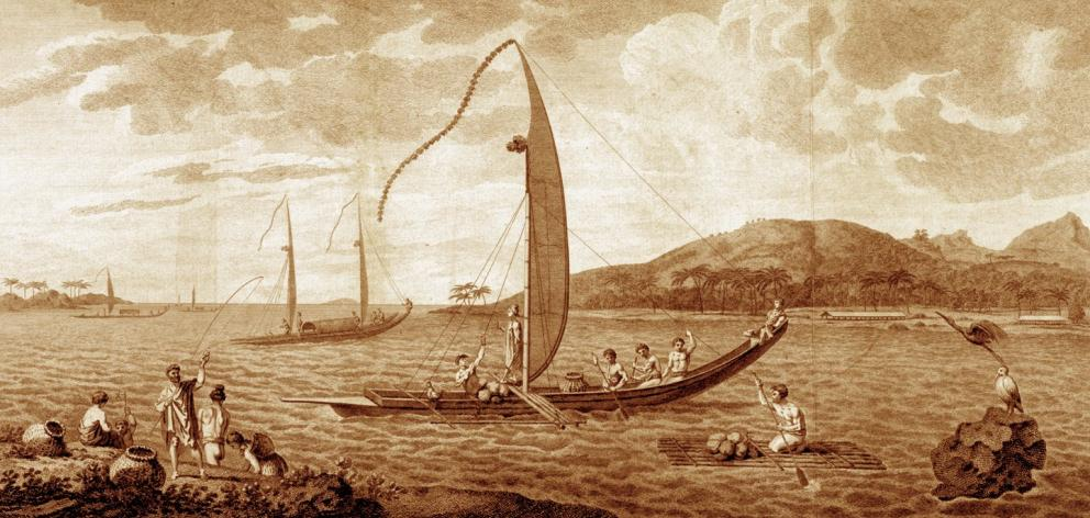 Tahitian va'a and other boats at Matavai Bay in 1773, a sketch by William Hodges, artist aboard...