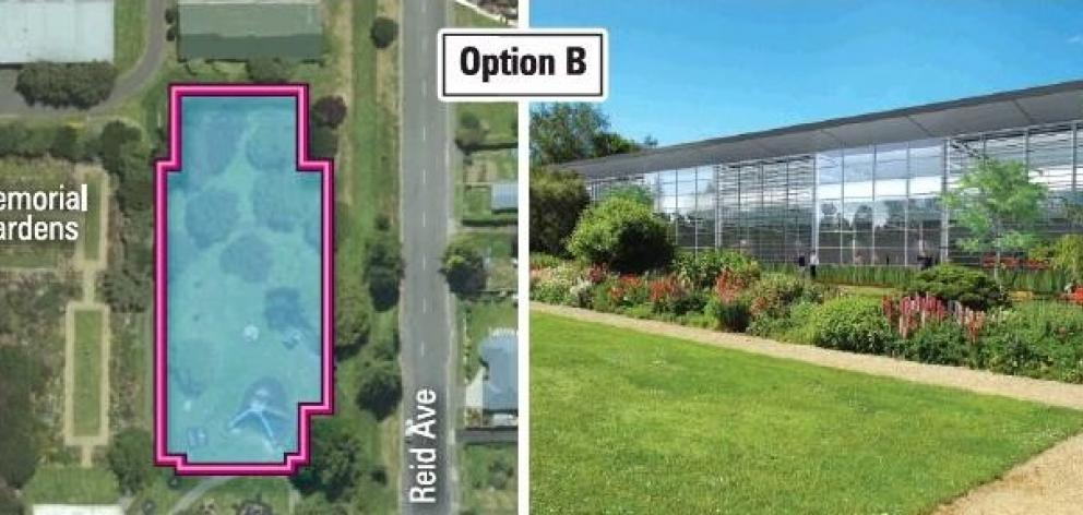 An artist's impression of the proposed site at Mosgiel Memorial Garden near Reid Ave (Option B)....