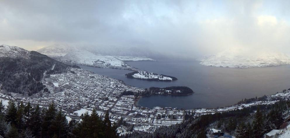 Queenstown was covered in snow this morning. Photo: Supplied