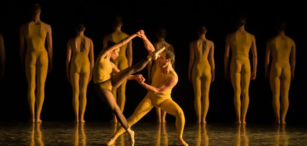 Forsythe stager Thierry Guiderdoni (centre) works with principal dancers Mayu Tanigaito and...