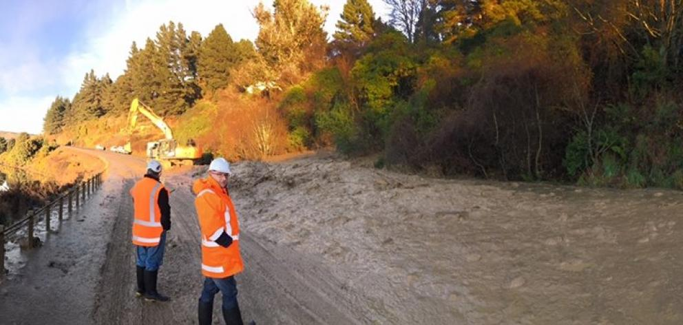 The slip on Port Chalmers highway (SH88). Photo: Dunedin Civil Defence Emergency Management