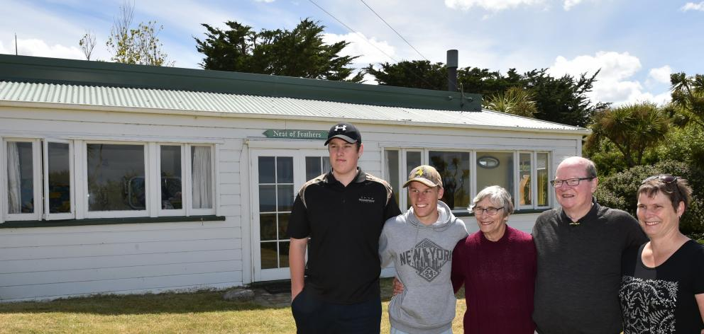 Feather family members (from left) Jonathan Watt (15), Nicholas Watt (17), Linda and Bill Feather...
