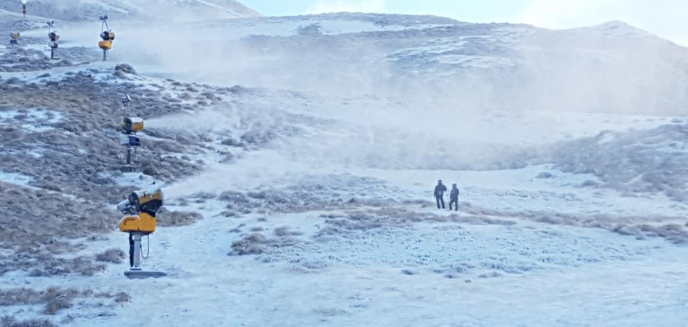 Snow guns fire on Coronet Peak. Photo: supplied