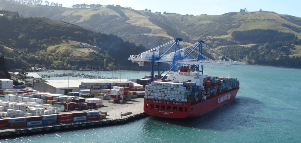 The Rio-class ship Rio de la Plata sits at the extension wharf at Port Chalmers while...