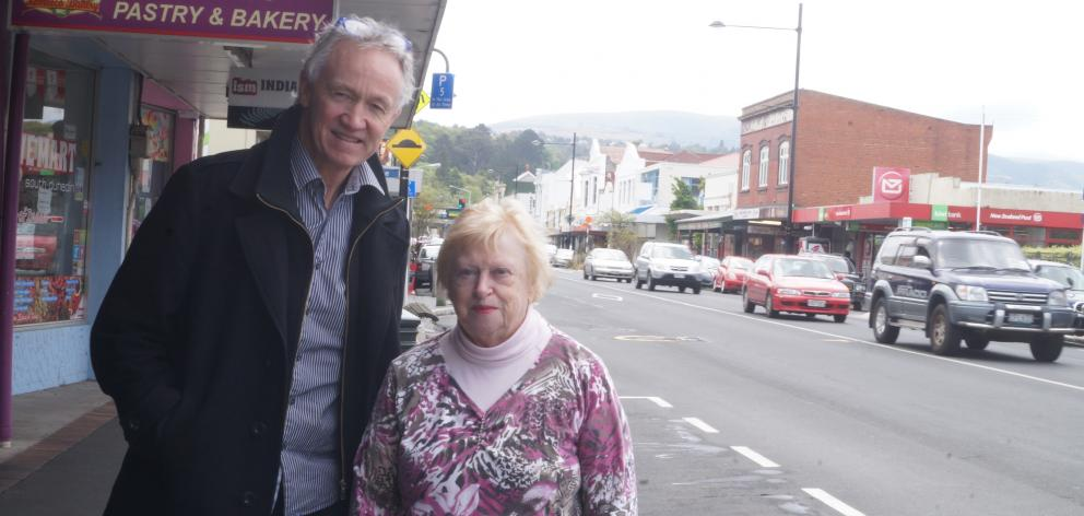South Dunedin Business Association chairman Craig Waterhouse  and Grey Power Otago president Jo Miller say there is less foot traffic in South Dunedin since changes to  bus services in the area. PHOTO: GRETA YEOMAN