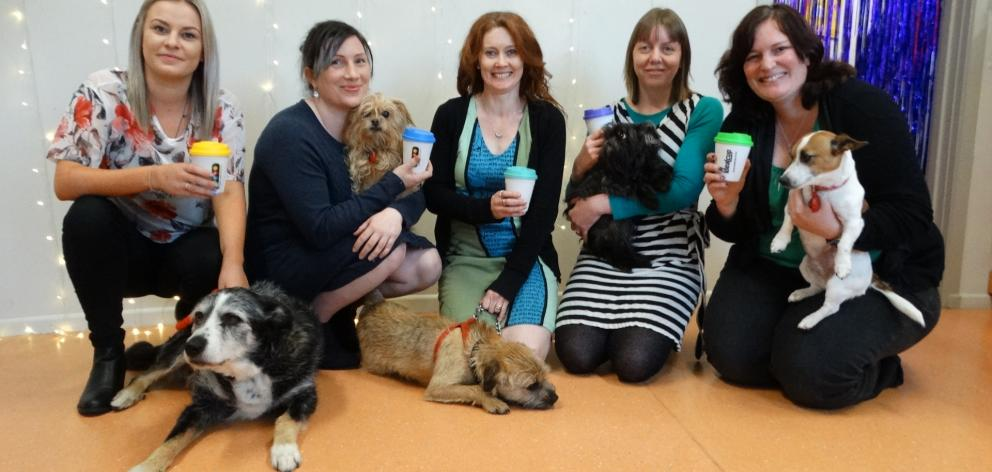 Otago Polytechnic School of Veterinary Nursing staff and dogs (from left) Jan Kirby and Watea,...