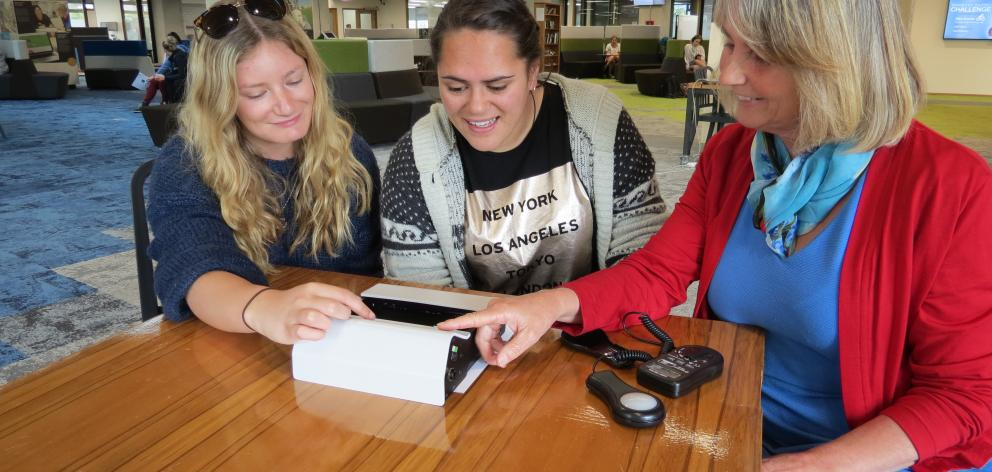 Otago Polytechnic occupational therapy lecturer Mary Butler (right) and third year occupational...