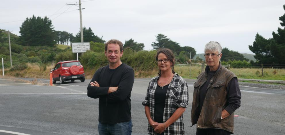 Concerned about the Highcliff and Camp Rds intersection are (from left) Larnach Castle director...