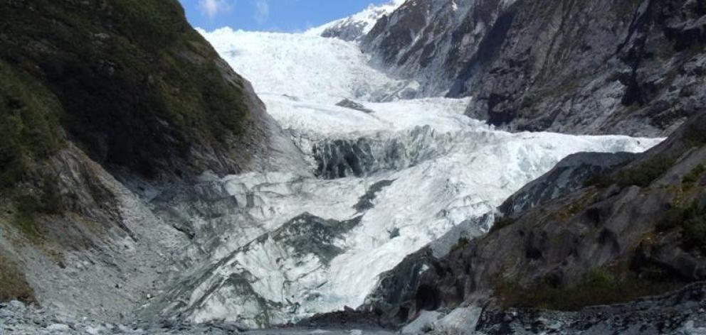 Franz Josef Glacier seen from the valley floor. Photo by Matthew Haggart.