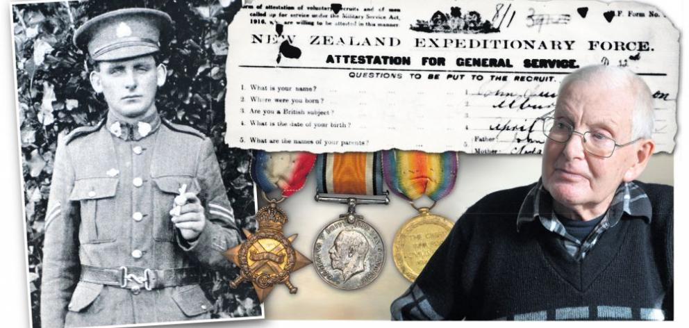 John Quinn Adamson (left) and his son Pat Adamson (right). Also pictured are John Quinn's war medals. Photo supplied & Gerard O'Brien
