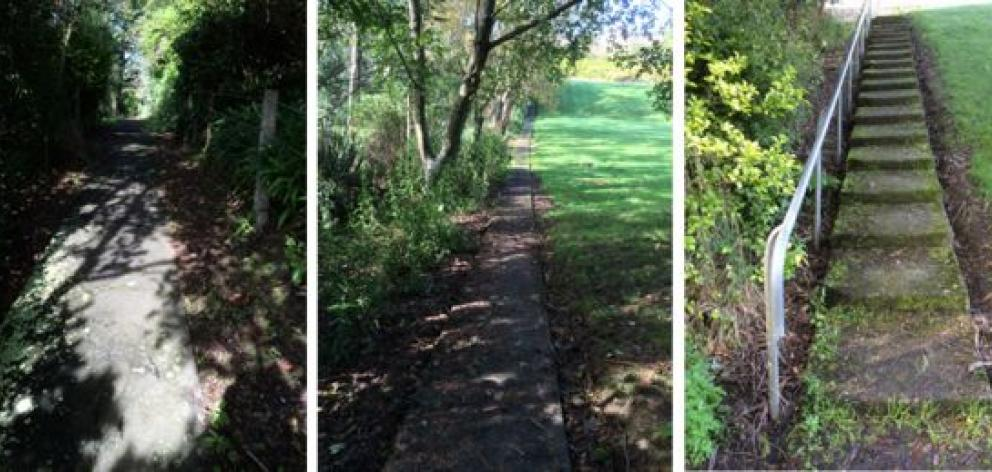 A walkway from Milburn St in Corstorphine ends abruptly at a new wooden fence in part of the former Corstorphine School grounds. Photos by Lynley Hood.