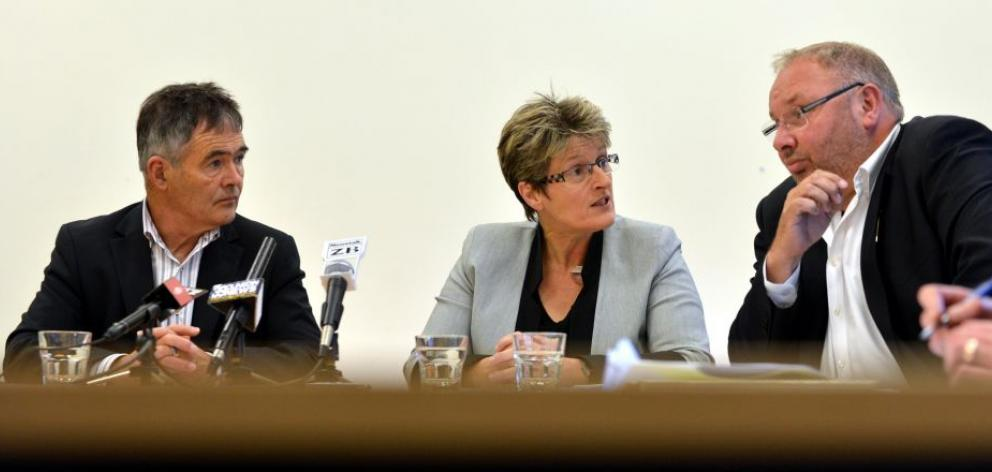 Dunedin Mayor Dave Cull (left), chief executive Sue Bidrose and Dunedin  City Holdings Ltd (DCHL) current chairman Graham Crombie during a media conference last Thursday about Delta's  failed property investments at Jacks Point and Luggate and the Office
