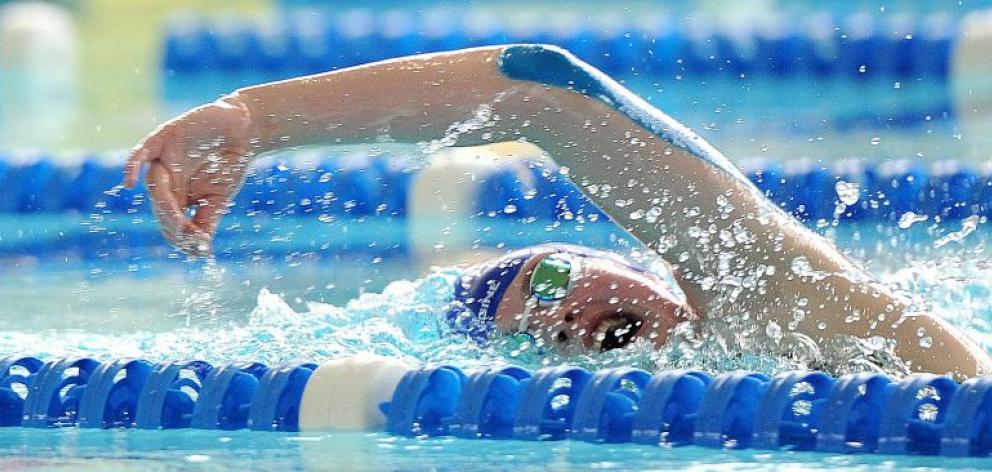 Otago swimmer Caitlin Deans competes in the girls aged 13 and 14 800m at the Otago championships at Moana Pool yesterday. Deans won five gold medals at the championships. Photo by Craig Baxter.