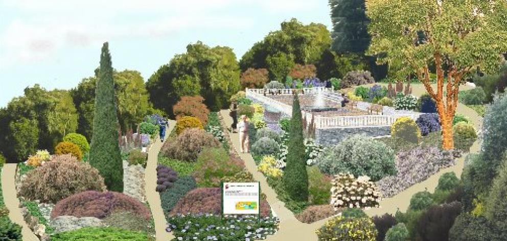 A computer compilation of how the new Mediterranean garden might look in about three years.