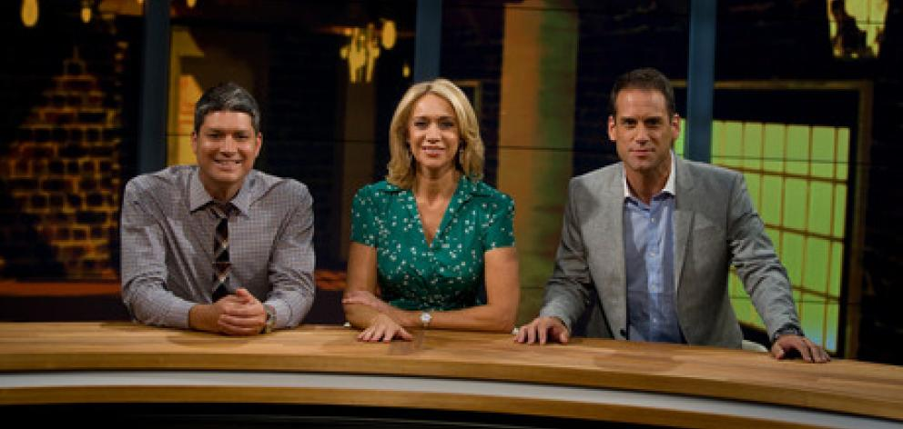Seven Sharp presenters (L-R) Jesse Mulligan, Ali Mau and Greg Boyed. Photo: NZ Herald