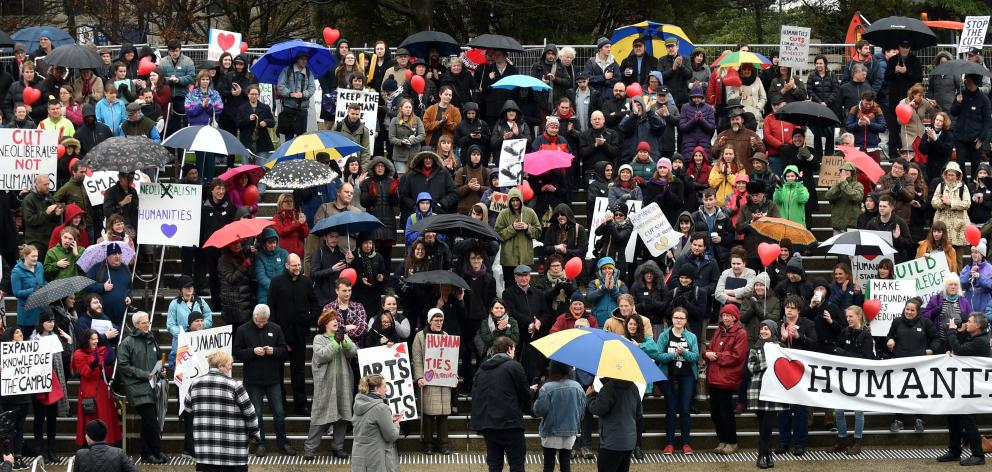 About 400 people attend a protest against proposed cuts to the University of Otago humanities division on the Dunedin campus yesterday.