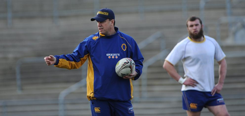 Former Otago coach Phil Mooney at a training at Carisbrook, with a young Liam Coltman in the...