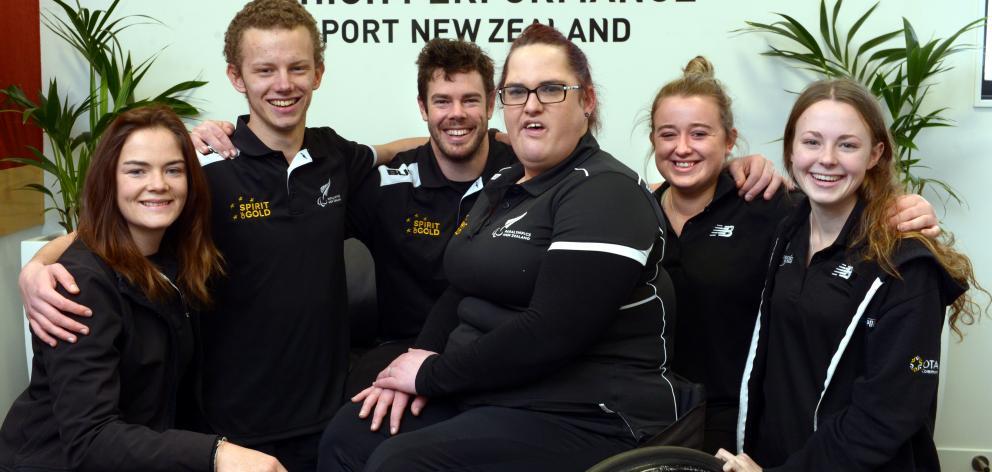Dunedin Paralympians (from left) Holly Robinson, Jacob Phillips, Rory McSweeney, Jessica Hamill,...