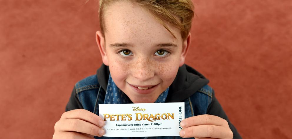 Jack Body holds his ticket to the special advance screening of Pete's Dragon. Jack was double for...