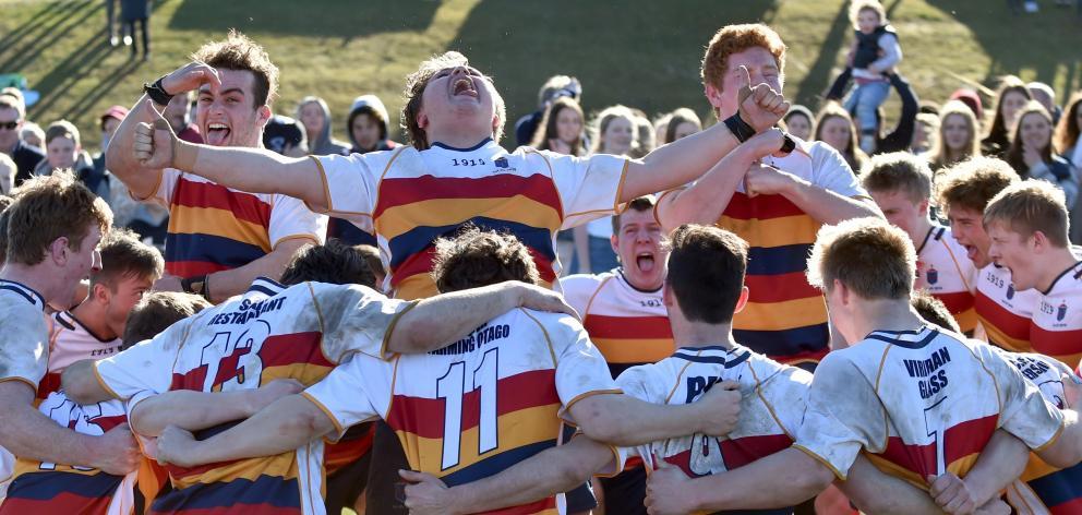 John McGlashan College First XV players (from left): Rory Ferguson, Reon Lowery and Sam Moir...