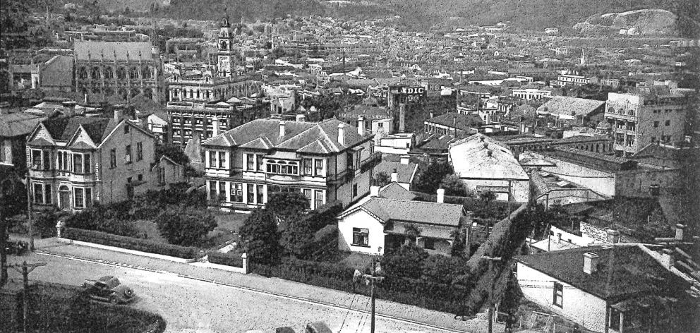 A 1938 photograph of 30 Tennyson St (centre) taken from the Speight's chimney. Photo: supplied.