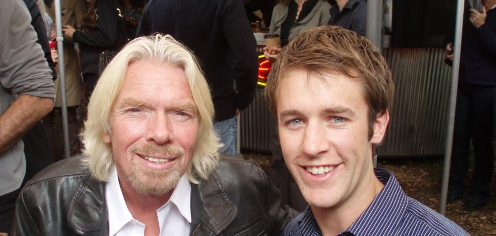 Business magnate Sir Richard Branson with University of Otago graduate and Highly Flammable Ltd...