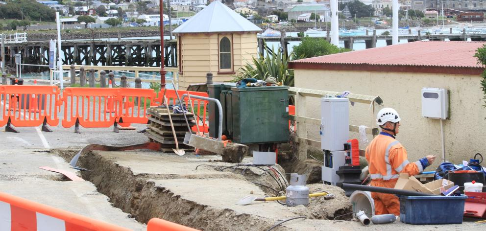 Oamaru blue penguins could be using New Zealand's first penguin underpass within three weeks as crews continue work at the site at Oamaru Harbour. Photo by Hamish MacLean.