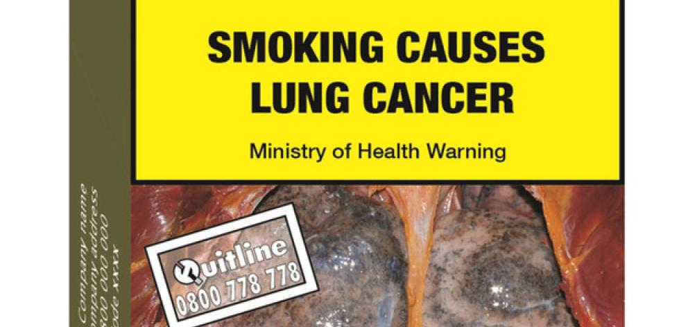 An indicative image of standardised cigarette pack supplied by the Ministry of Health. Final...