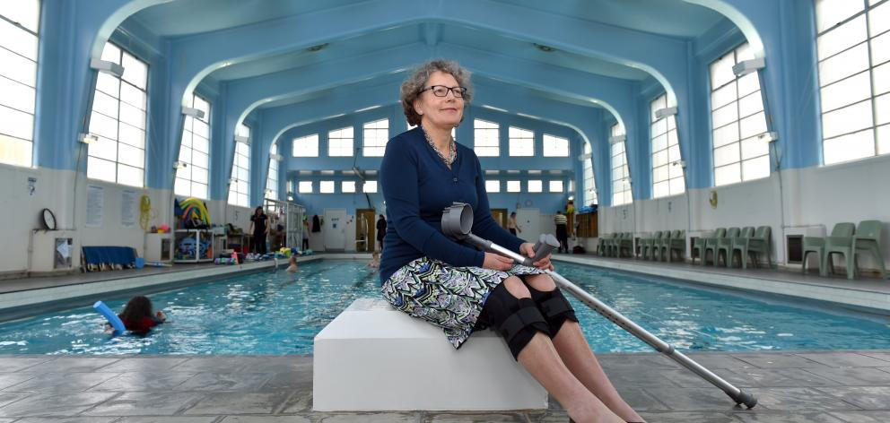 Dunedin physiotherapist Barbara Anderson sits on the side of the physiotherapy pool. She has...
