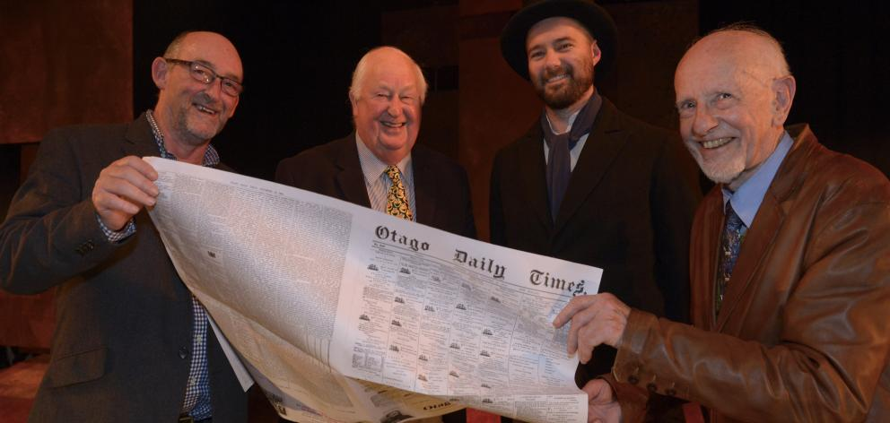 Actor Richard Dey (second from right), who plays the part of Otago Daily Times founder Sir Julius...