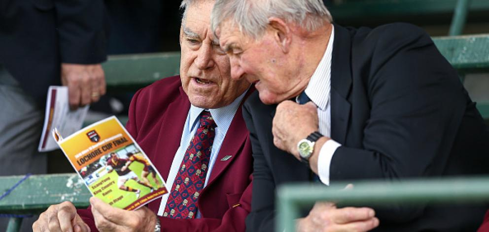Rugby legends Sir Colin Meads and Sir Brian Lochore were on hand to watch the game. Photo Getty