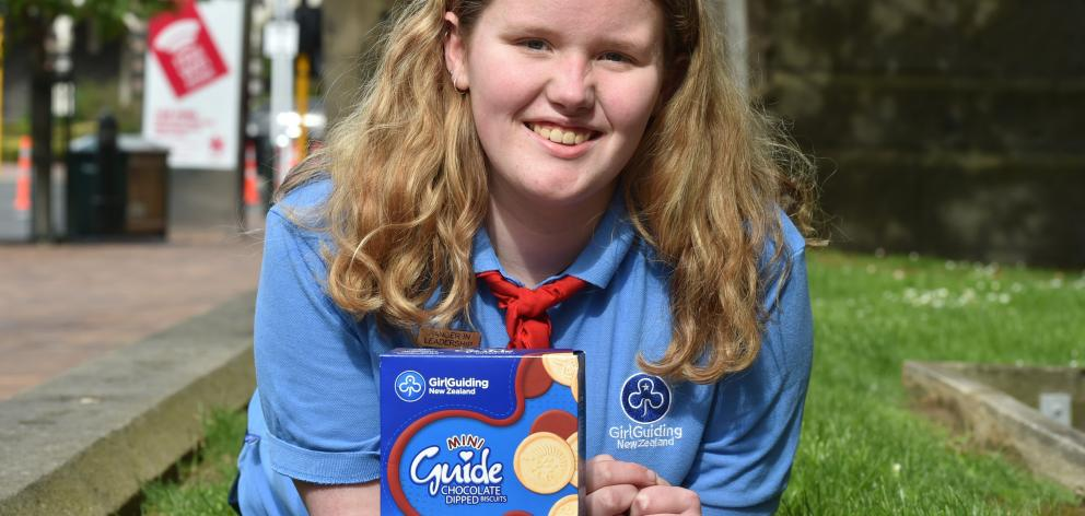 Melissa Hawke  with Girl Guide biscuits  to go on sale soon to businesses. Photo: Gregor Richardson.