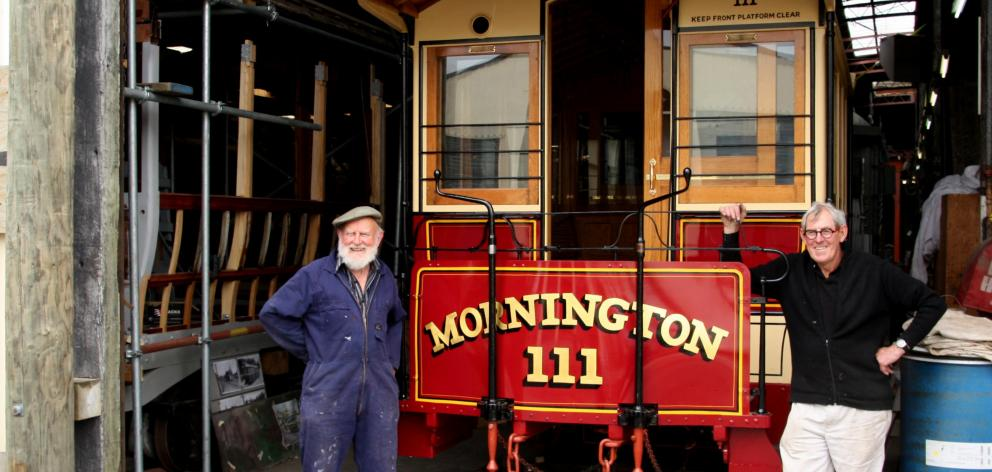 Don McAra (left) and Pim Sanderson, both of the Tramway Historical Society of Ferrymead in...