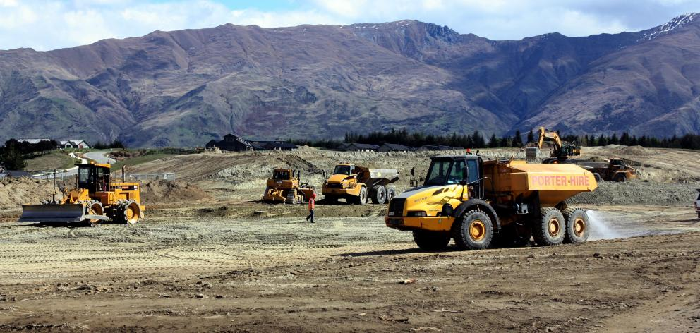 Contractors work on the site of the Northlake village centre in Wanaka yesterday.  Photo: Tim...