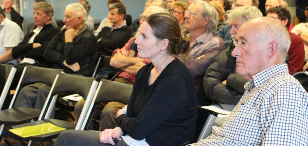 Manuherikia Catchment Water Strategy Group chairman Allan Kane addresses the audience at a...