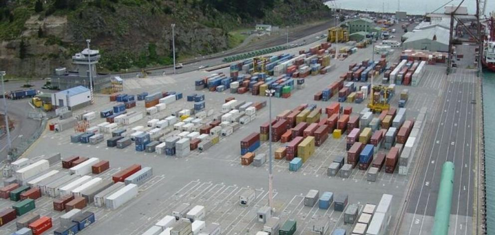 A view of Lyttelton container terminal from a container crane. .Photo: Lyttelton Port of...