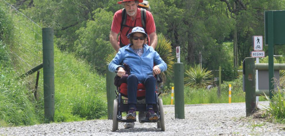 Outdoors accessibility advocate Merle Bradley, of Hokitika, in her rough terrain capable...