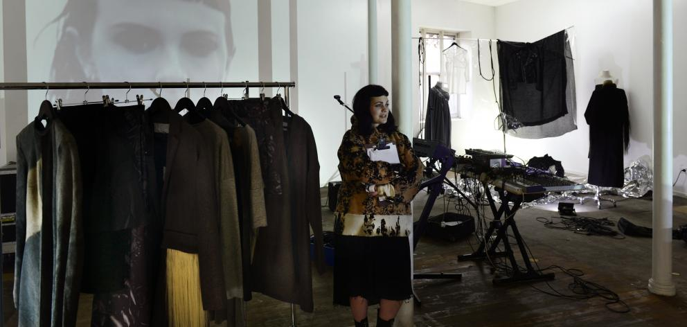Dunedin fashion designer Julia Palm gets ready for the opening of her exhibition in Princes St....