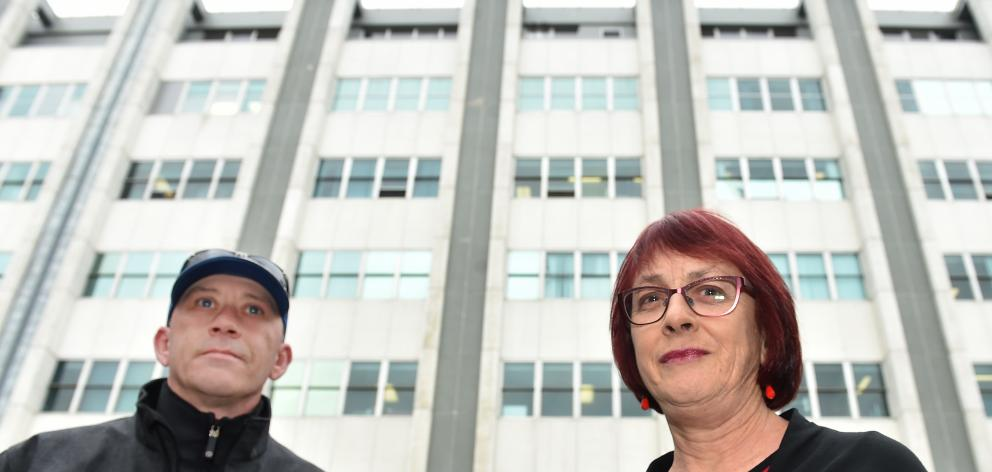 Eye clinic patients Steve Fawcett and Denise Wilson outside Dunedin Hospital yesterday. Photo by Peter McIntosh.