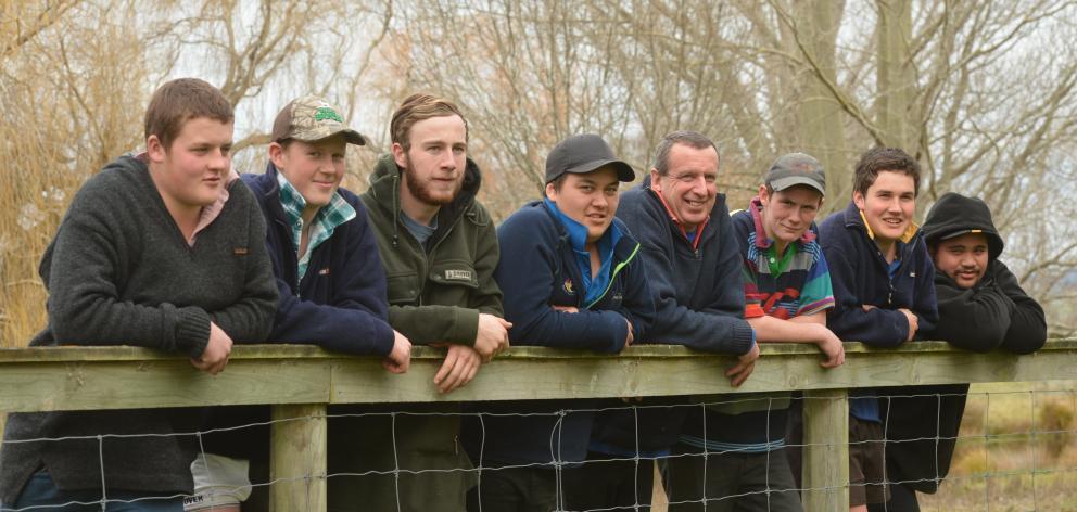Allan Roxburgh with Telford students Jake Jones (16), Scott McKenzie (17), Eden McAlister (17),...
