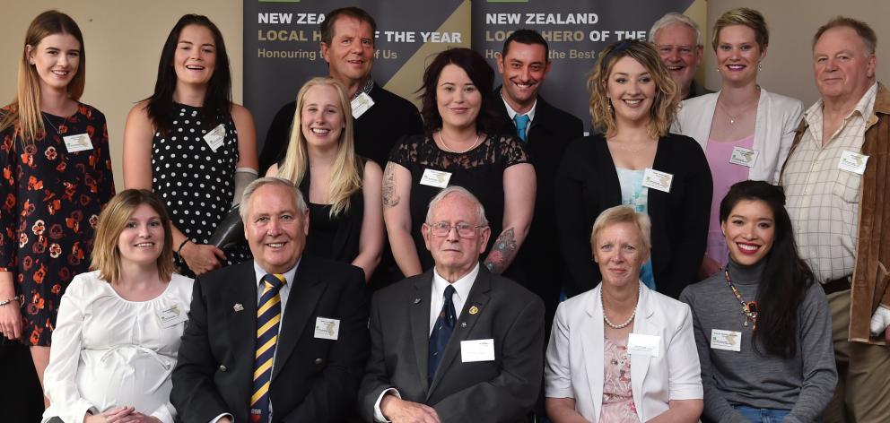 Kiwibank Local Hero medal winners (front, from left) Charlotte Aarden, Lox Kellas, Gordon Divers,...