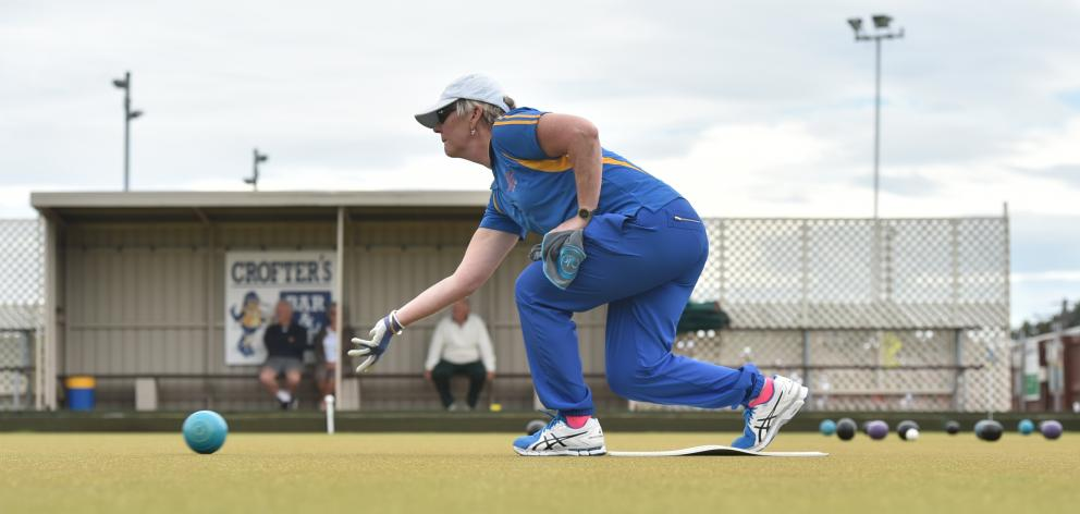 Vicki Robinson, of the North East Valley Bowling Club, plays during the Dunedin women's interclub...