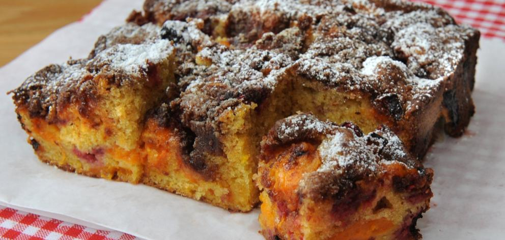 Apricot and raspberry buckle. Photo: Jane Dawber