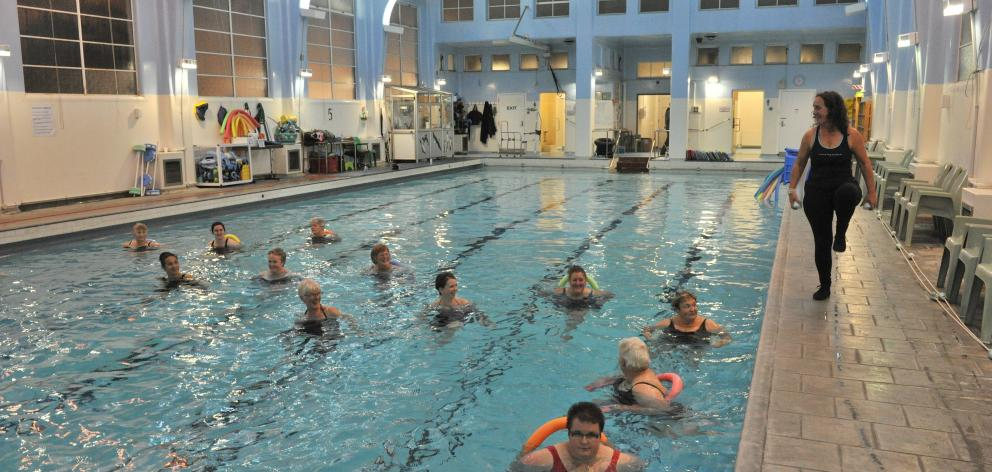 Instructor Sharon Teavae leads an Aquarobics class at the Physio Pool, Dunedin. Photo: ODT.