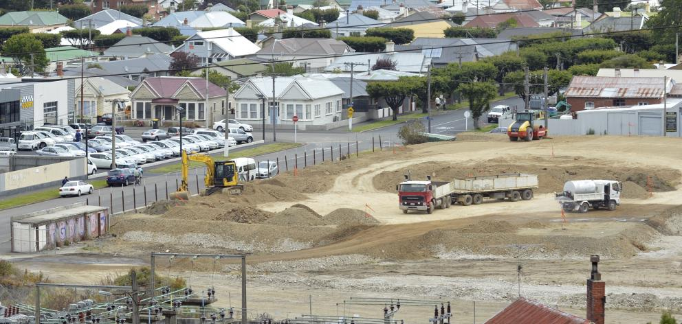 Contractors for Calder Stewart continue work at the former Carisbrook site yesterday. Photo by Gerard O'Brien.