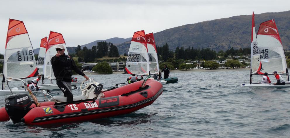 Sir Russell Coutts gives last-minute racing tips to competitors on Lake Wanaka. Photos: Kerrie...